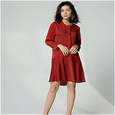 Heavy Crepe Georgette Long Sleeve Dress